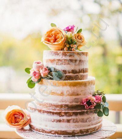 Торт свадебный без мастики с цветами