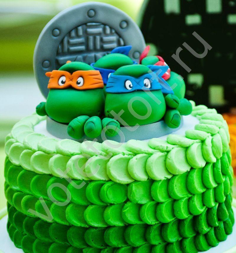 торт с черепашкой ниндзя фото