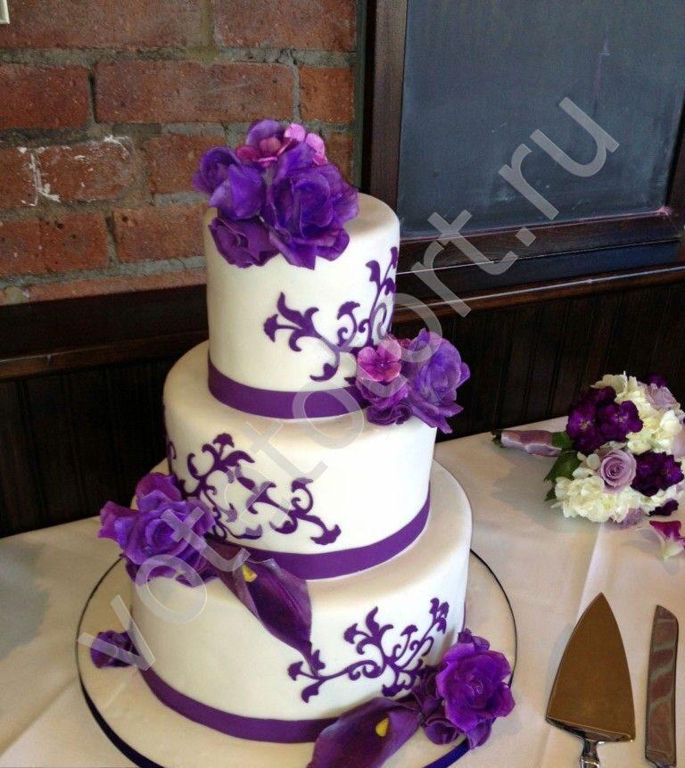 Сиреневый свадебный торт фото